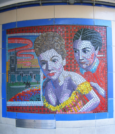 Hitchcock Leytonstone London Underground Mosaics - French & Saunders would have parodied well