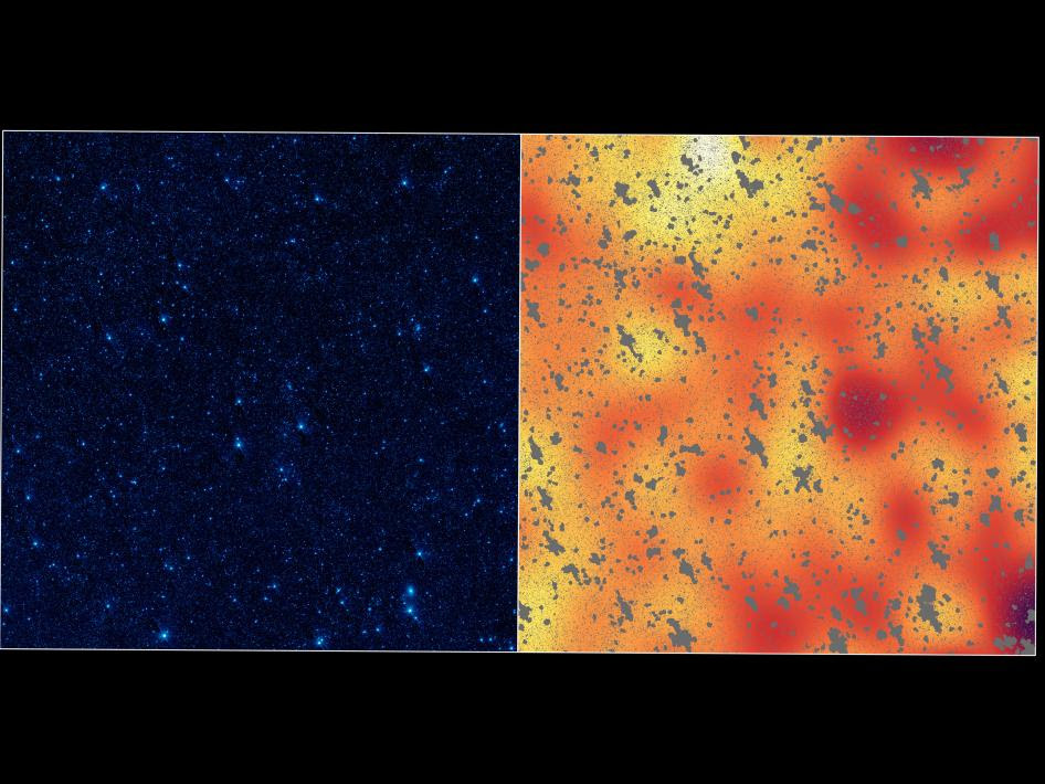 The image on the left shows a portion of our sky, called the Boötes field, in infrared light, while the image on the right shows a mysterious, background infrared glow captured by NASA's Spitzer Space Telescope in the same region of sky.