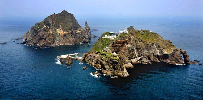 Liancourt Rocks, a.k.a. Dokdo islands, in the Sea of Japan.