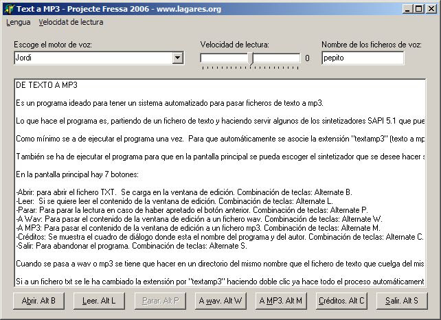 Pantalla del programa Text a Mp3