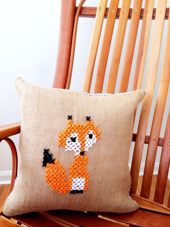 Fox Burlap Pillow  Cross Stich and Burlap and by LindasOtherLife, $18.00