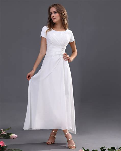 Chiffon Short Sleeve Tea Length Bridesmaid Dresses Under