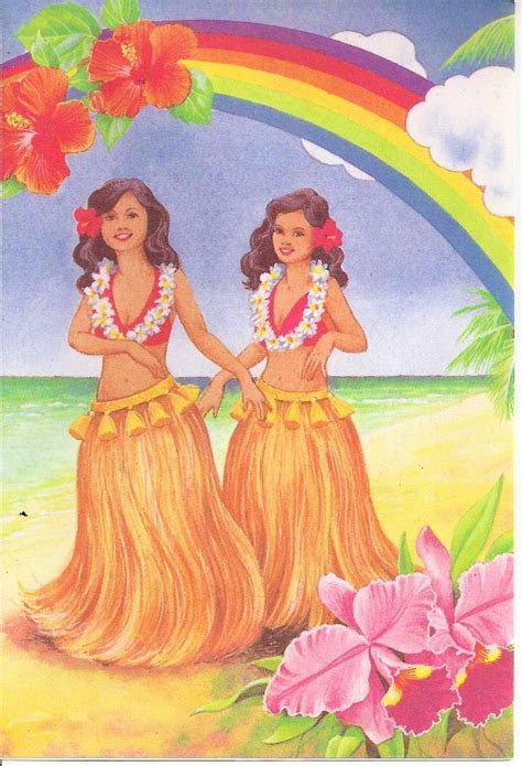 Vintage note card from Coral Cards, Honolulu, Hawaii. Hula