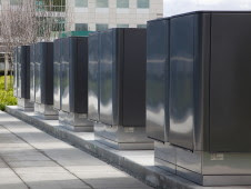 Bloom Energy servers at eBay. Each server is the equivalent size of one parking spot