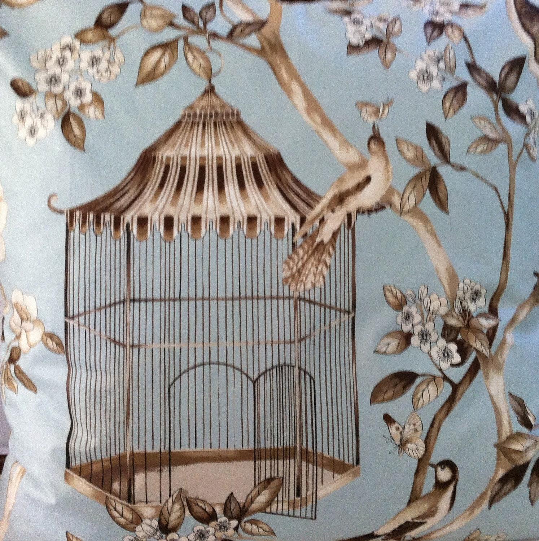 Birds Birdcage Floral Pillow Italian Designer  XL Euro Size   (1184) - FrenchPillowHouse