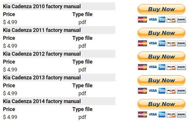 Kia Cadenza 2010 2014 Repair Manual Factory Manual