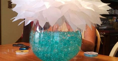 fish bowl vase: bowl filled with clear and turquoise water