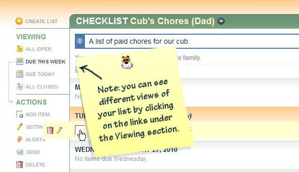 Changing the Chore Chart View