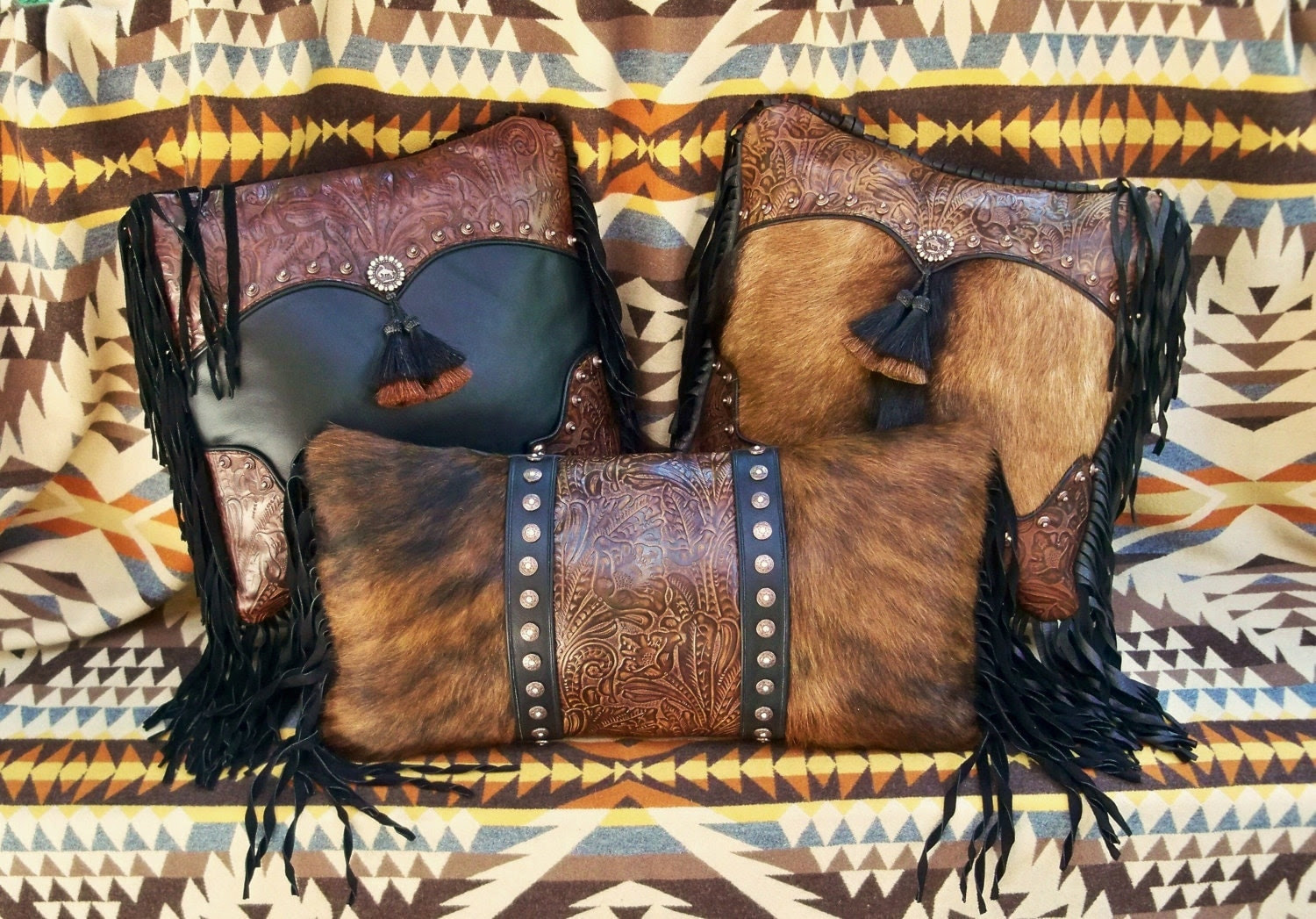 Leather fur pillow home decor Western by stargazermercantile