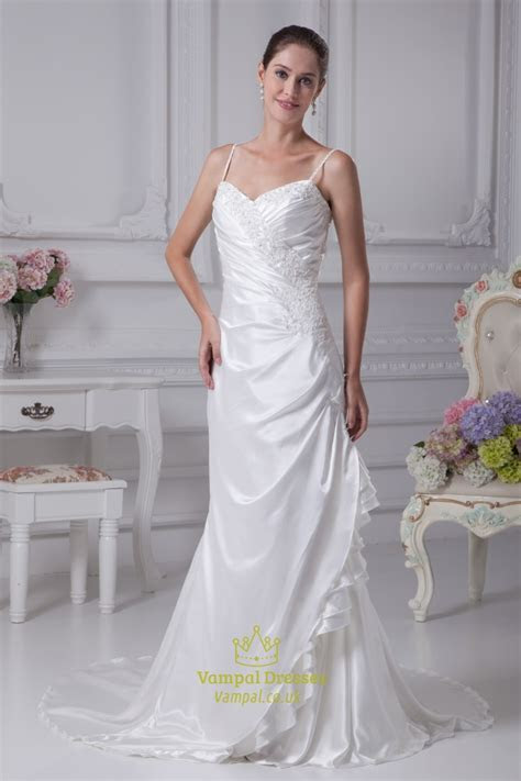 White Taffeta Wedding Dress, Spaghetti Strap Mermaid