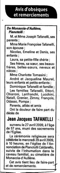 Monacia d'Aullene : décès de Jean Jacques Tafanelli