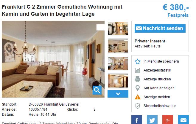 frankfurt c 2 zimmer gem tliche wohnung mit kamin und garten in. Black Bedroom Furniture Sets. Home Design Ideas