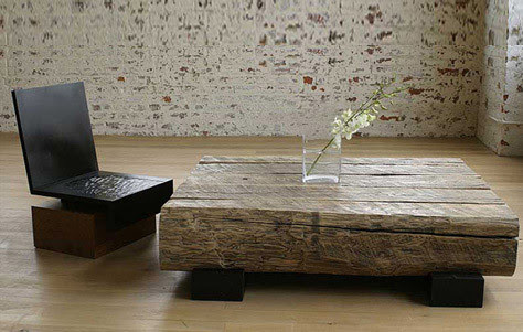 Andre Joyau table, coffee table, heavy wood table, modern wood table, reclaimed wood table, rustic wood table, sustainable table, sustainable wood table