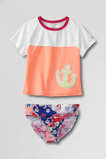 Girls' Anchors Away Short Sleeve Cropped Graphic Rash Guard Set - Coral Pink Anchor, 8