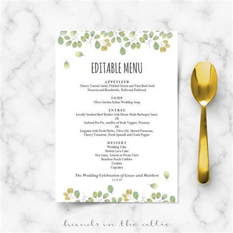 Leaves Wedding Reception Menu Template   Wedding Menu