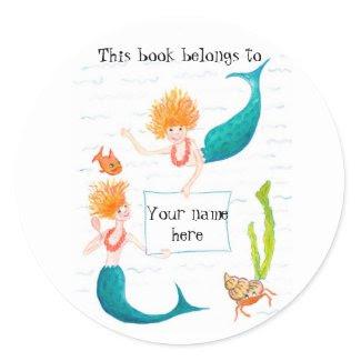 Mermaids Bookplates sticker