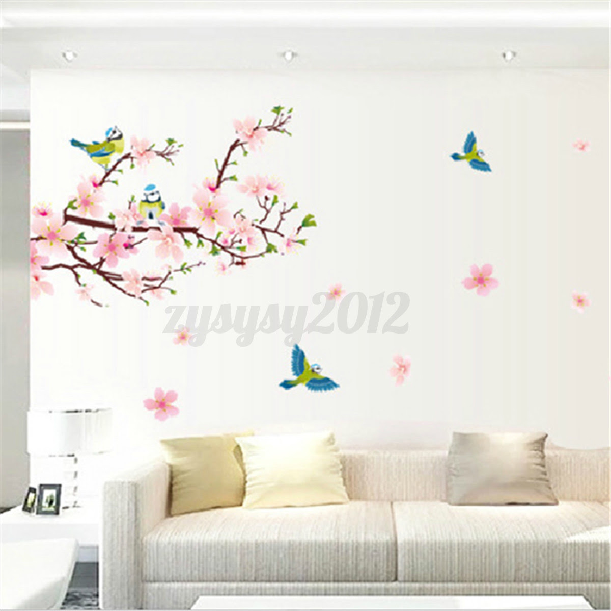 Peach Blossom Birds Flowers Beautiful Living Room Decals Wall Sticker Removable  eBay