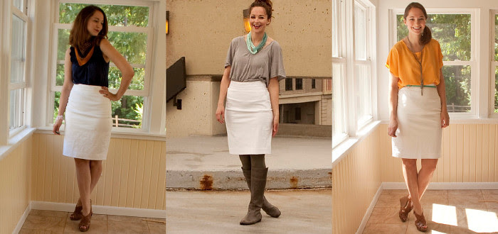 dash dot dotty, white skirt remix, how to wear, pencil skirt, office, business casual