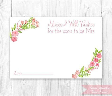 Vintage Floral Bridal Advice Card. Floral Bridal Shower