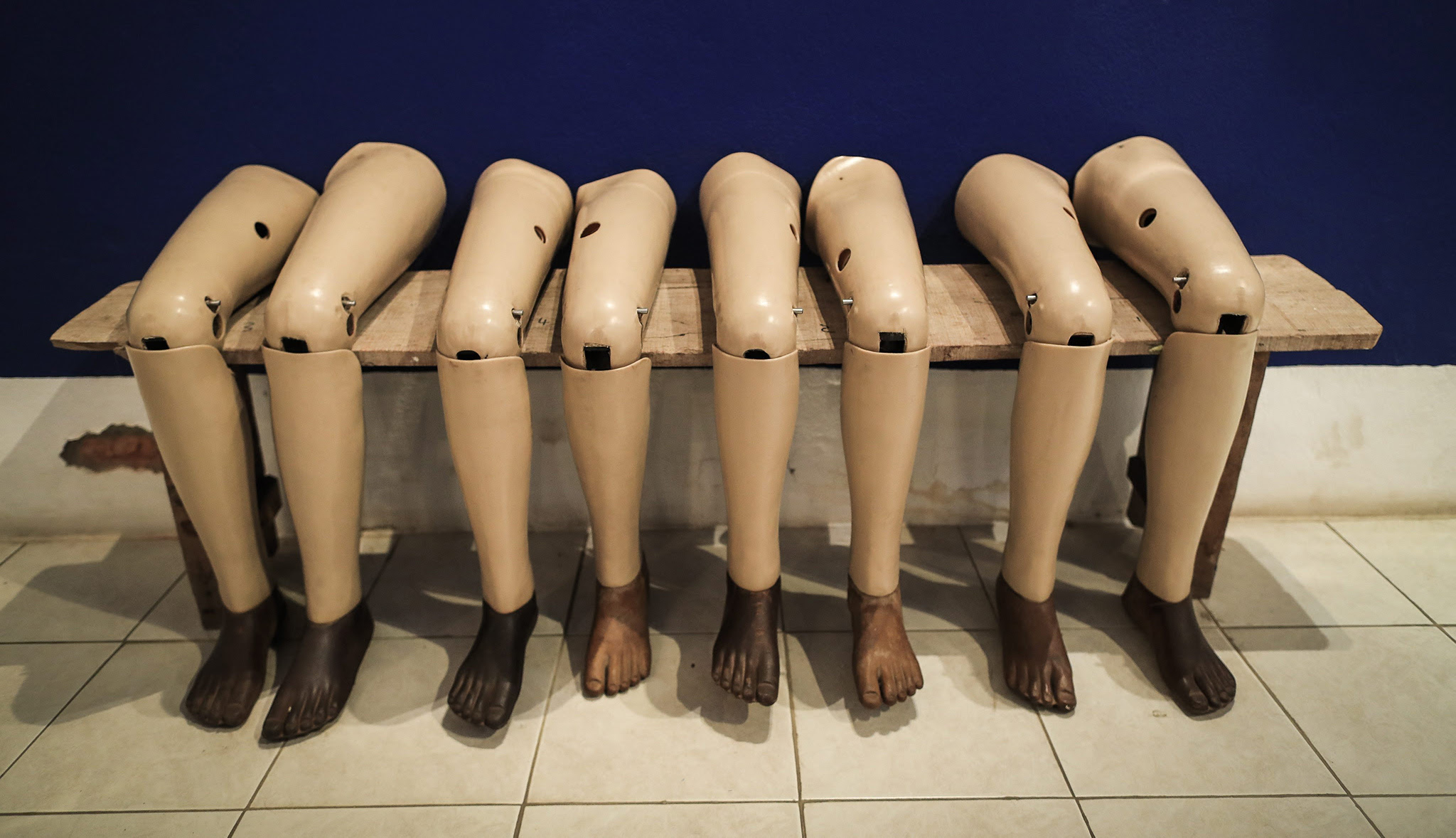 Leg prostheses on display at the Cooperative Orthotic and Prosthetic Enterprise (COPE) Center in Vientiane, Laos, 05 September 2016. COPE was created to provide Unexploded ordnance (UXO) survivors with access to orthotic and prosthetic devices. During the Vietnam War from 1964 to 1973, US troops dropped more than two million tons of bomb on Laos and estimated one third of the nearly 300 million bomb dropped were failed to detonated. Laos is hosting the 28th and 29th ASEAN Summits and Related Summits from 06 to 08 September 2016.  EPA/MAST IRHAM