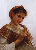 A young girl crocheting, in an 1889 painting by William-Adolphe Bouguereau.