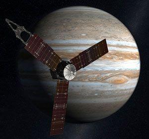 An art concept of NASA's JUNO spacecraft approaching Jupiter.