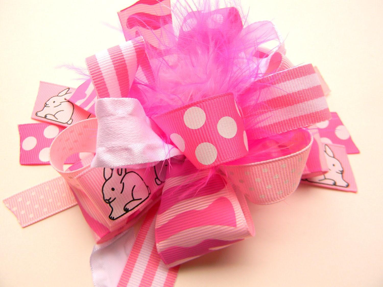 Easter Bunny Pink Ribbon Hair Bow
