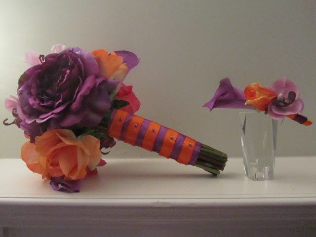 Real Touch Silk Bridal Bouquet Purple pink and tangerine orange