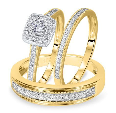 Wedding rings with engraved: Trio wedding ring sets yellow