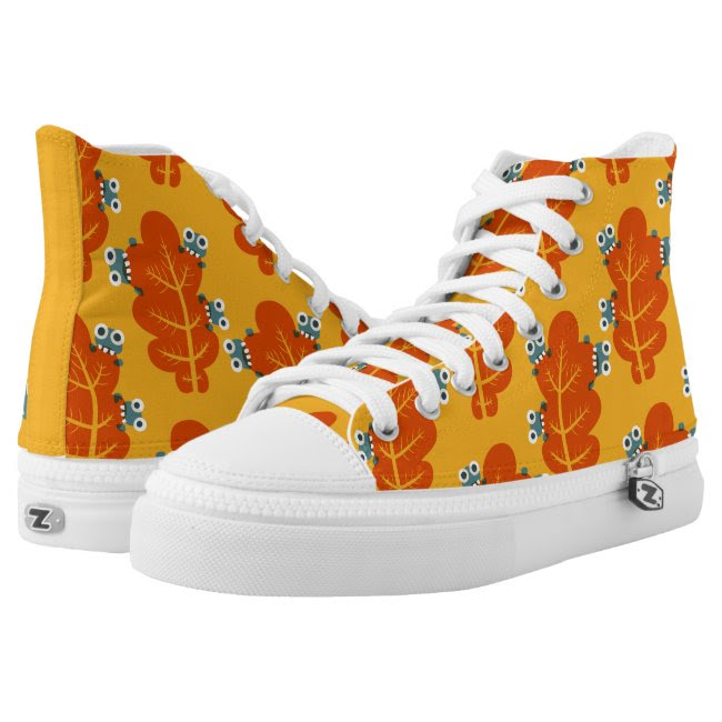 Pattern of Cute Bugs Eating Autumn Leaves Printed Shoes
