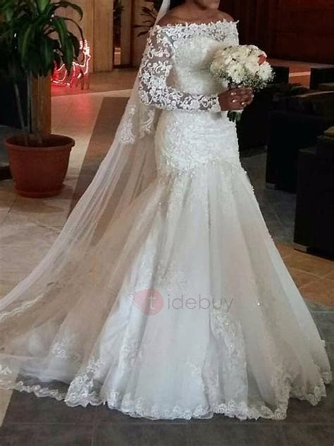 Long Sleeve Appliques Mermaid Wedding Dress : Tidebuy.com
