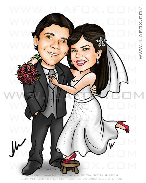 caricatura noiva em cima de um banquinho, noiva baixinha e noivo alto, caricatura para casamento by ila fox