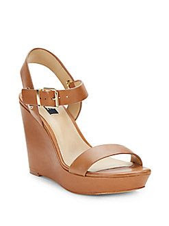 Saks Fifth Avenue BLUE Claudine Leather Wedge Sandals