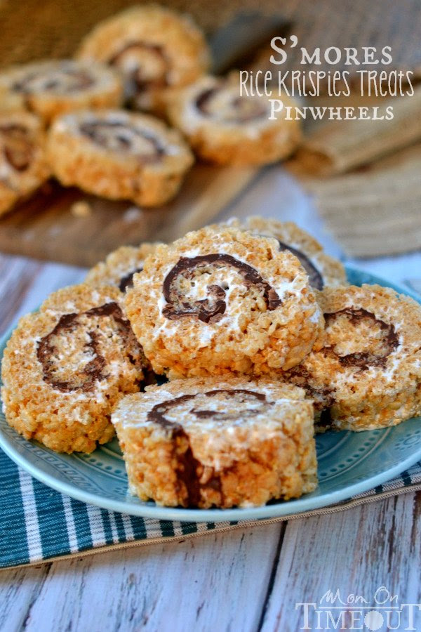 S'mores Rice Krispies Treats Pinwheels - Mom On Timeout