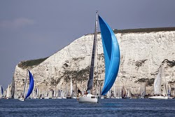 J/109 sailing off The Needles, Cowes, England