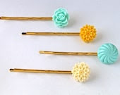 Aqua and Yellow Hair Pin Set - ShopLovelyJane