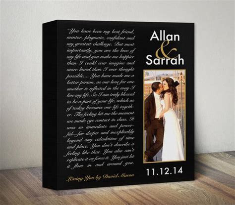 Custom Anniversary Gift Song Lyric Canvas Personalized by