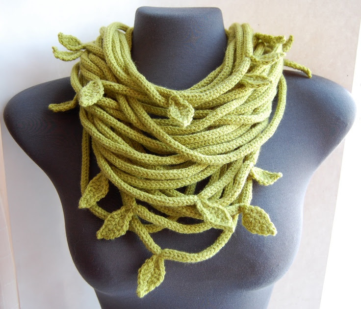 Knitted Tube scarf in olive green by purpletube on Etsy   //  ok,  when I saw this,  I know it might be a bit strange, and maybe a stretch,  but I could see this turned into a medusa piece, instead of leaves,  little snake heads.  weird.. but I liked it.