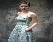 50s rhinestone party dress - Petrune