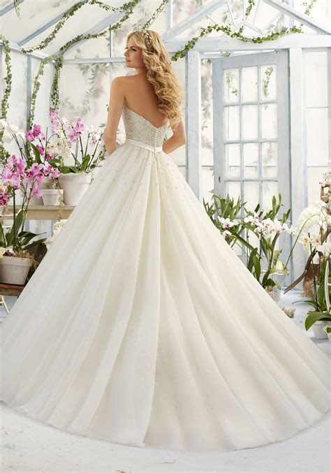 pearl diamante  laser cut  tulle wedding dress