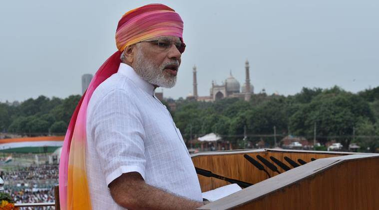 Prime Minister Narendra Modi during his address from the ramparts of Red Fort. Image: PIB