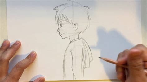 draw anime male head side view slow narrated