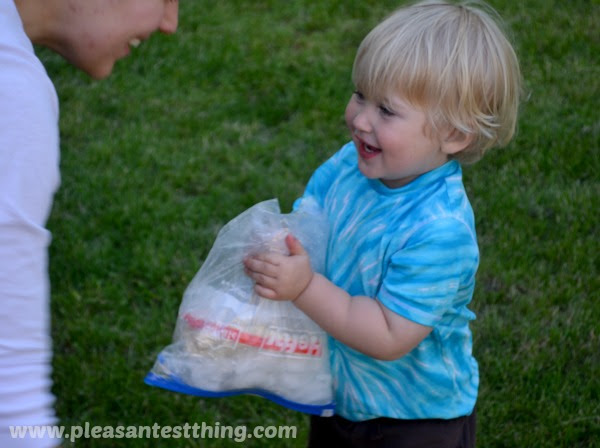 sensory fun with ice cream in a bag