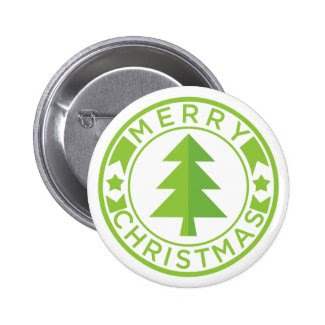 Green Merry Christmas Tree Badge