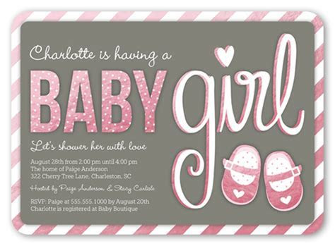 Baby Booties Girl 5x7 Baby Shower Invitation Cards