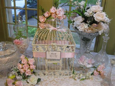 Beautiful Antique White Bird Cage Large / Wedding Card