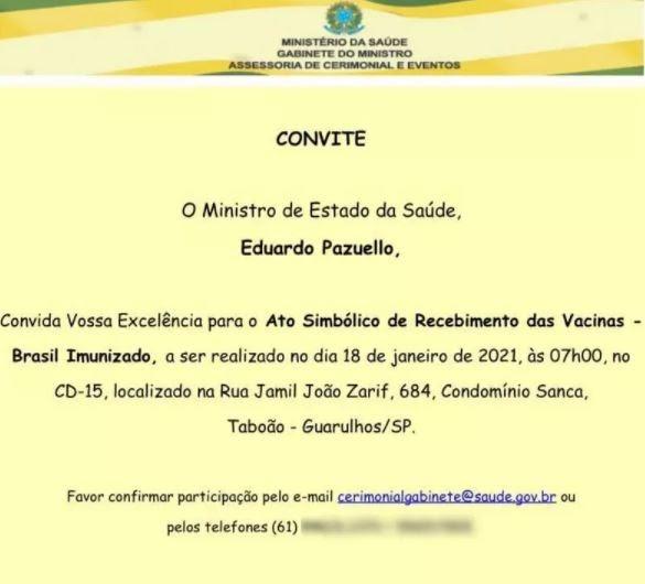 Pazuello convida governadores para 'ato simbólico' de recebimento das vacinas na segunda-feira