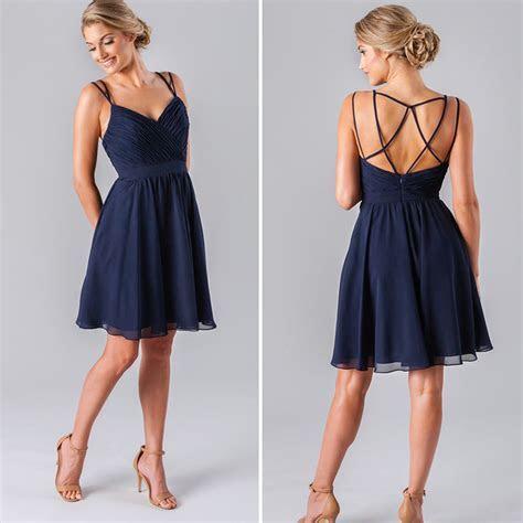 Cheap Short Dark Navy Blue Bridesmaid Dress Spaghetti