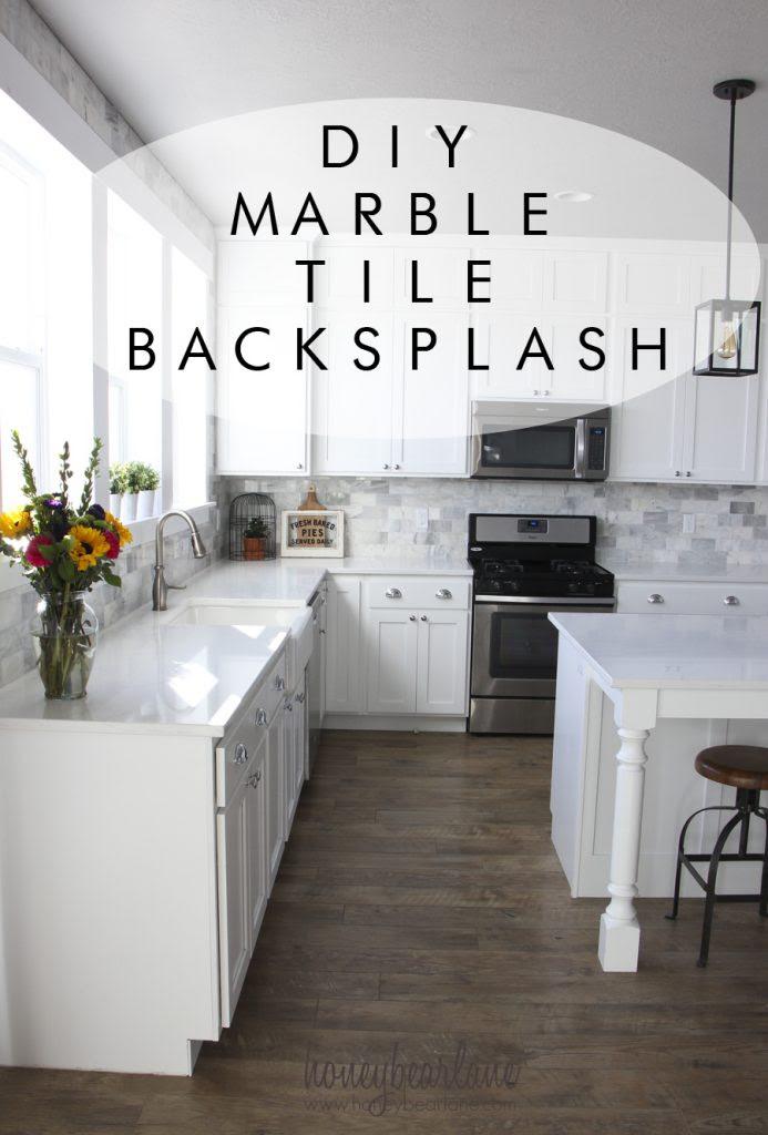 DIY marble tile backsplash 693x1024