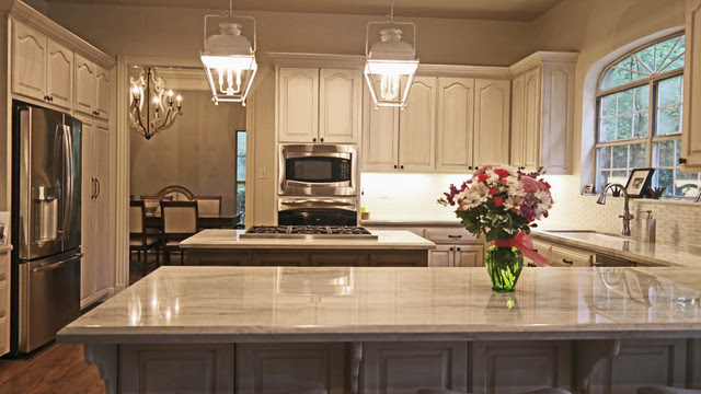 Painted and Glazed Kitchen Cabinets with Island and Bar ...